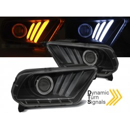 Headlights front led Ford Mustang black