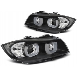 Headlights front angel eyes 3D for BMW 3 Series E90 E91 2005-2008 - Black