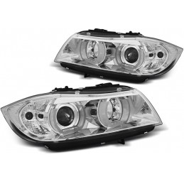 Headlights front angel eyes 3D for BMW 3 Series E90 E91 2005-2008 - Chrome