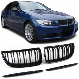 M3 look varnished black grilles for BMW E90 E91 from 2005-2007