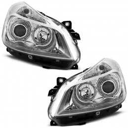 Front headlights angel eyes for Renault Clio - Chrome