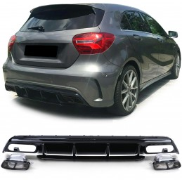 Diffuser kit for Mercedes AClass A45 AMG facelift look - BLACK EMBOUTS