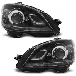 Front headlights led for Mercedes class C - Black