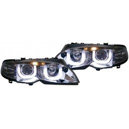 Front headlights led BMW series 3 E46 white square rings